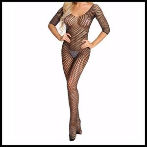 ❤️NEW Sexy Bling Fishnet Bodystocking Lingerie D01
